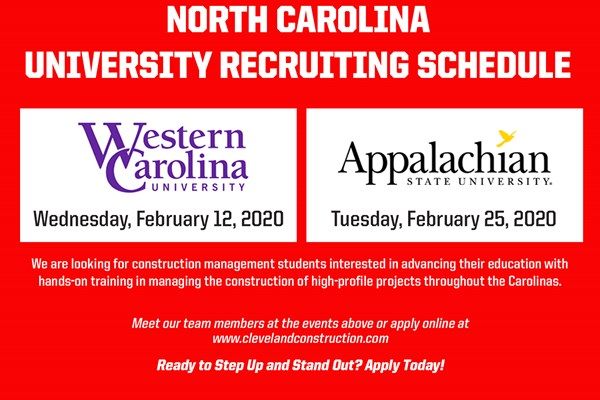 University Recruiting Events in North Carolina - Spring 2020