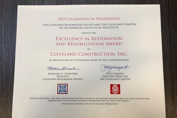 Cleveland Construction Receives Excellence in Restoration and Rehabilitation Award